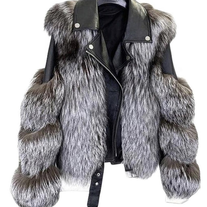 Daveen Silver Fox Fur Moto Jacket