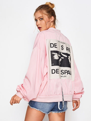 Patch Back Ribbon Detail Oversized Bomber Jacket