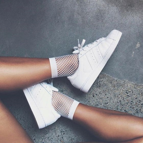 White Fishnet Mesh Socks