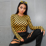Yellow Checkerboard Long Sleeve T Shirt