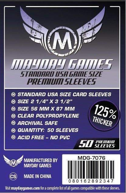 Mayday Games - Standard USA Game Size Premium Sleeves - 56mm x 87mm (50)