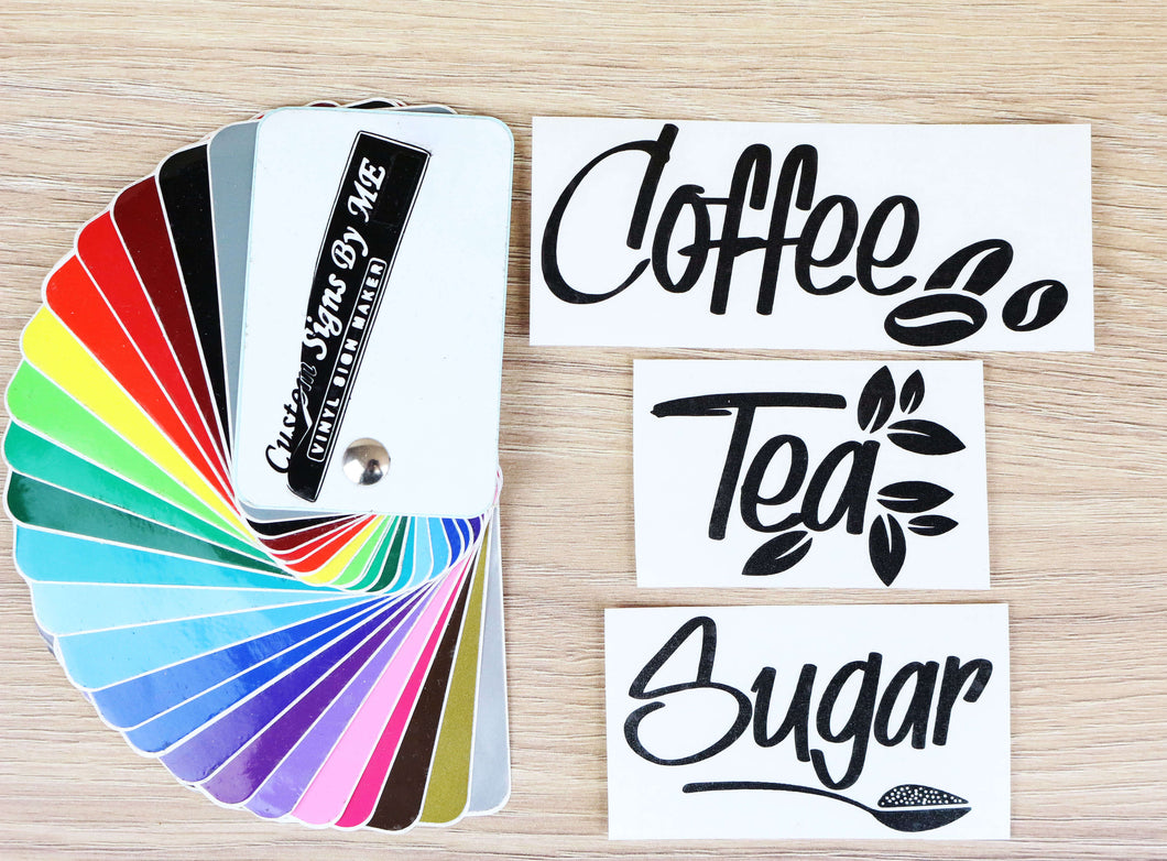 Personalised coffee tea sugar jar labels stickers vinyl decals adhesive custom signs by me