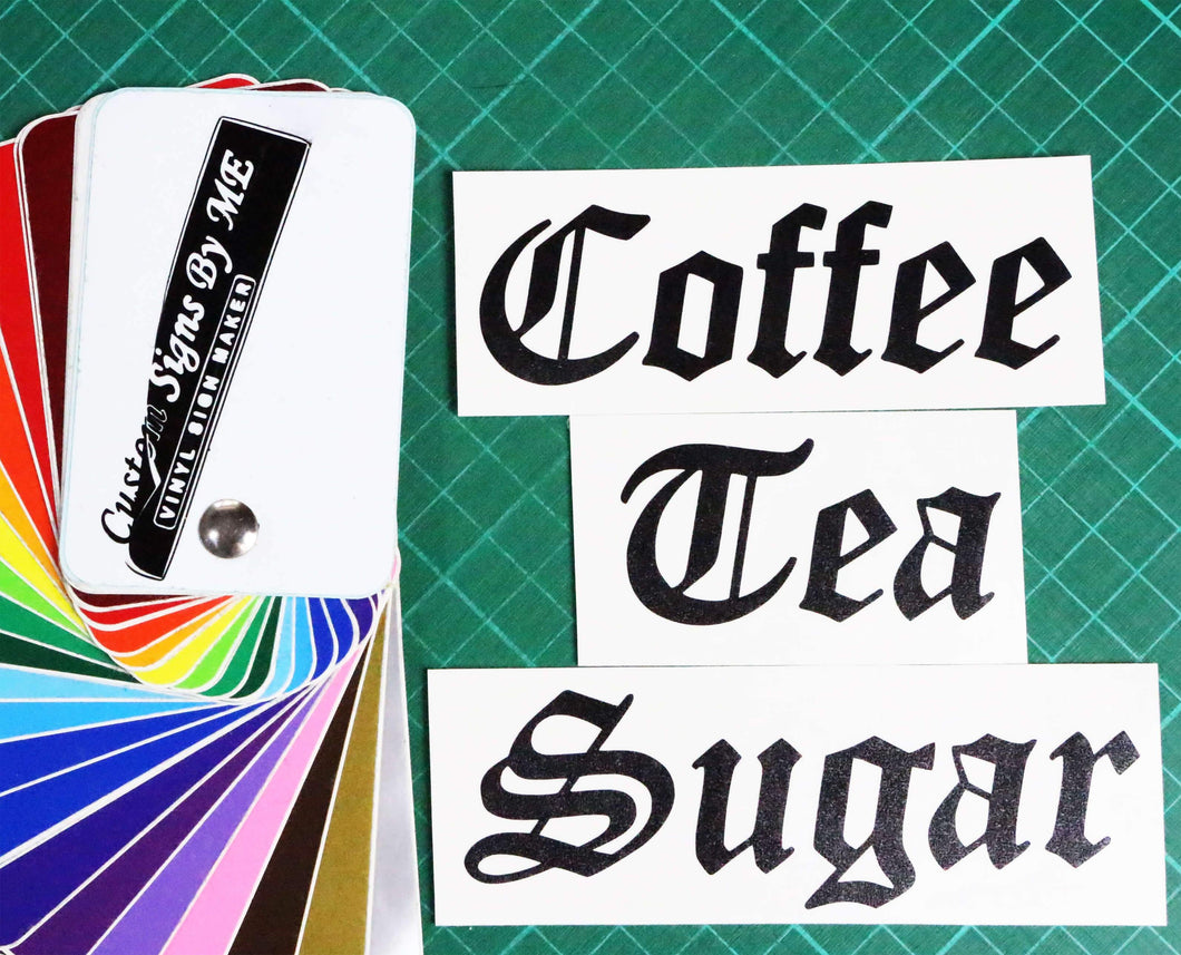 Coffee tea sugar jar personalised stickers vinyl decals adhesive old eng custom signs by me