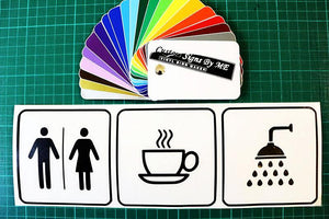 WC / Coffee / Shower shop guest house hotel petrol station sign sticker decal - Worldwide shipping