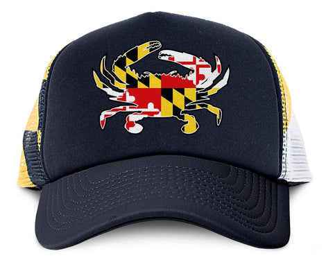 Maryland Flag Crab Trucker Hat - Front - HomeGamers