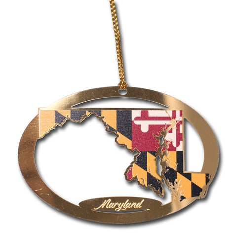Maryland Flag State Brass Ornament