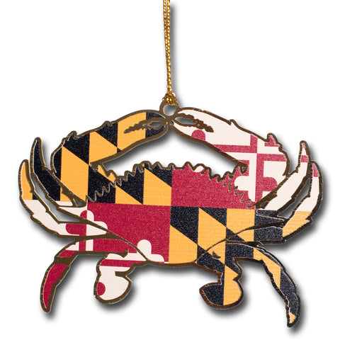 Maryland Flag Crab Brass Ornament