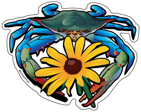 Blue Crab Black Eyed Susan Die Cut Decal - HomeGamers