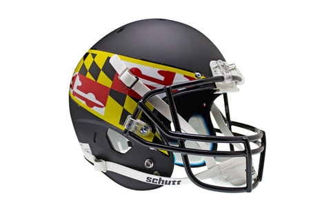 Maryland Terrapins Full Size Replica Helmet - Black with Flag