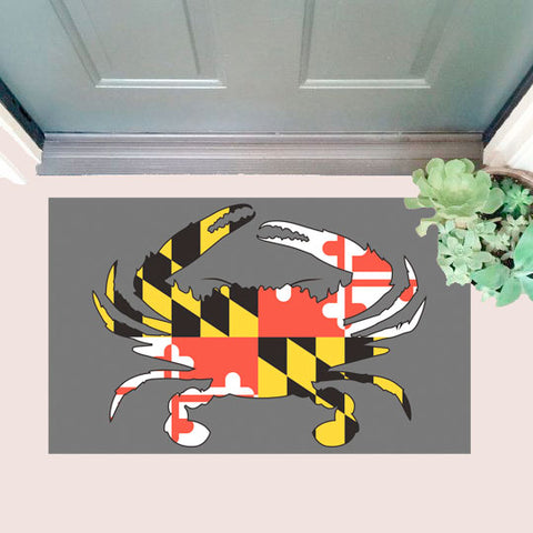Maryland Flag Crab Door Mat with door