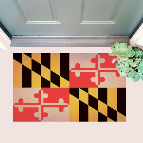 Maryland Flag Door Mat with door