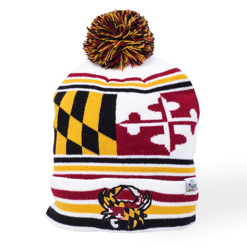 Maryland Flag with Crab Pom Beanie - HomeGamers
