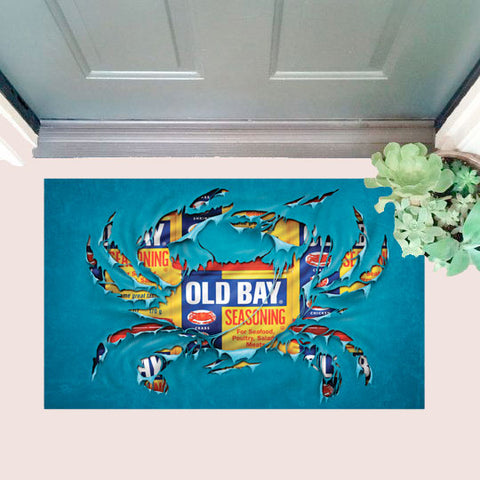 OLD BAY Ripped Crab Door Mat with door
