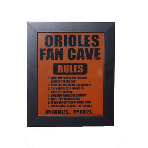 Baltimore Orioles Fan Cave Rules Sign