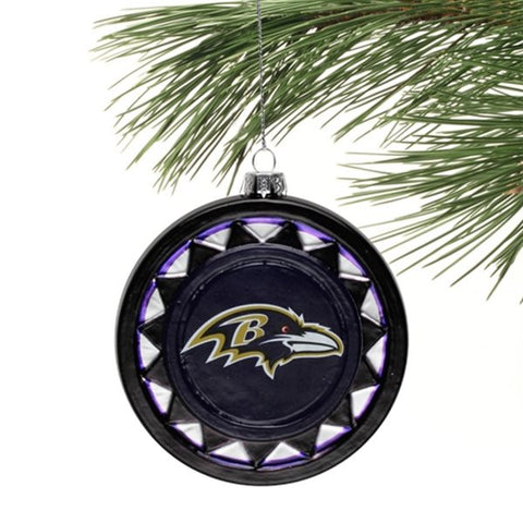 Ravens Blown Glass Logo Disc Ornament