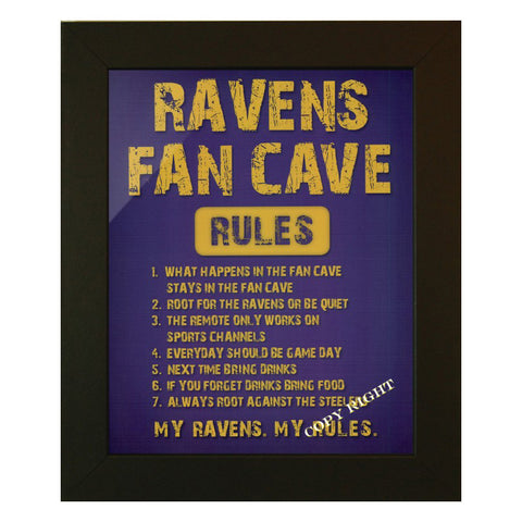 Ravens Fan Cave Rules Framed