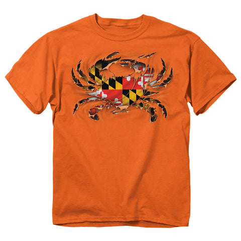 Maryland Flag Orange Ripped Crab T-Shirt - HomeGamers