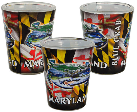 Maryland Flag Blue Crab Wrap Shot Glass