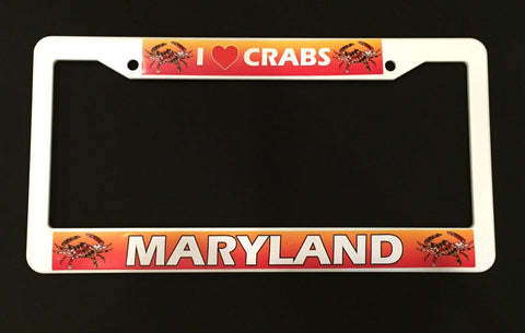 I Heart Crabs Maryland License Plate Frame