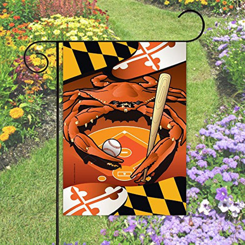 Maryland Flag Baseball Crab Garden Flag - On Stand - HomeGamers