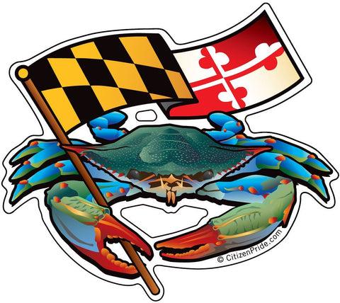 Blue Crab Waving Maryland Flag Die Cut Decal - HomeGamers