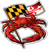 Red Crab Maryland Flag Die Cut Decal - HomeGamers