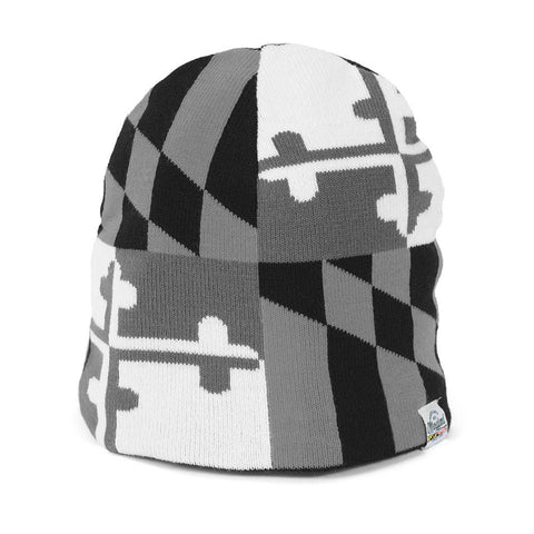 Maryland Flag Gray Scale Beanie - HomeGamers