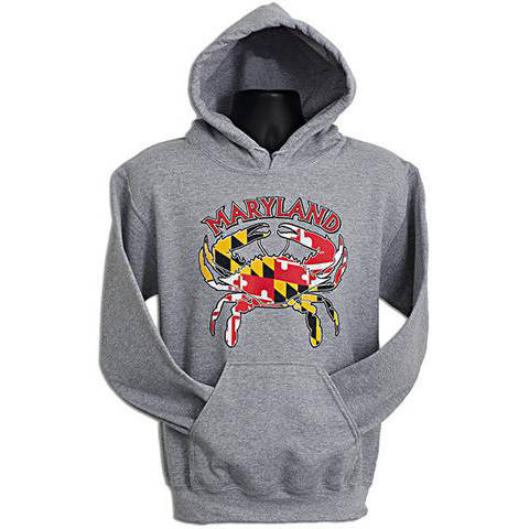 Maryland Flag Crab Hoodie - Gray