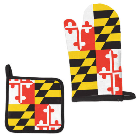 Maryland Flag Oven Mitt and Pot Holder Set