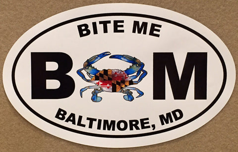 Blue Crab Bite Me Oval Decal