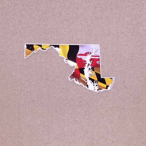 Maryland Flag In Outline of State Vinyl Decal