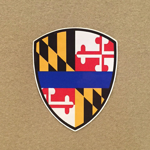 Thin Blue Line Maryland Flag Police Badge Decal - 2 Sizes Available!