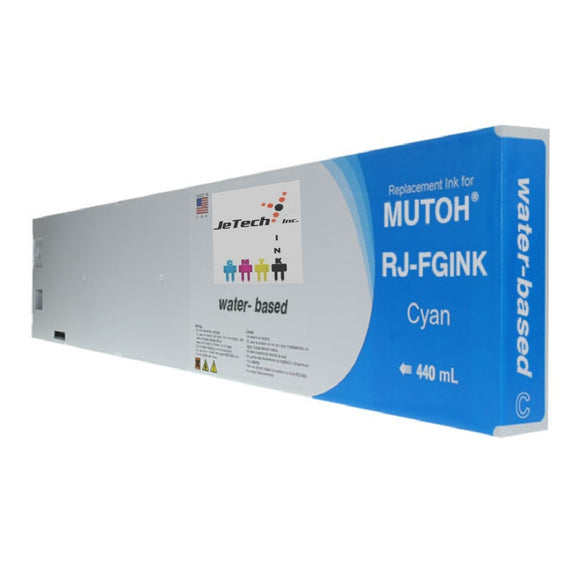 InXave Mutoh RJ-FGINK-CY water based 440ml ink cartridge Cyan
