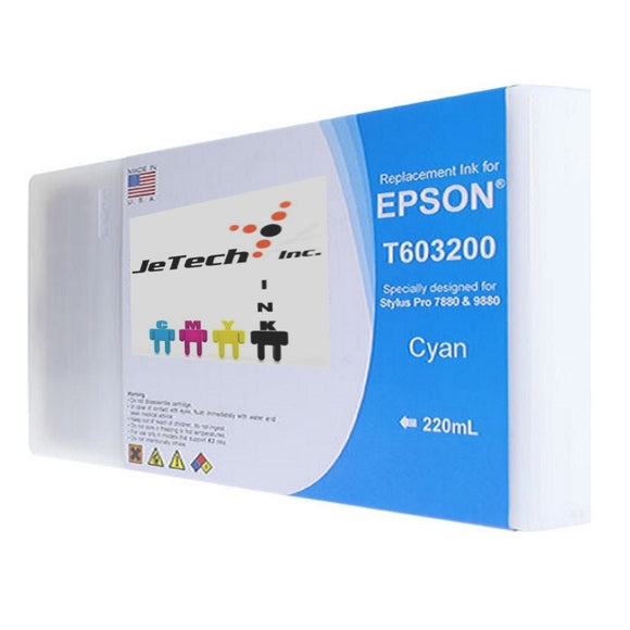 Epson T603200 220ml ink cartridge ultrachrome k3 cyan