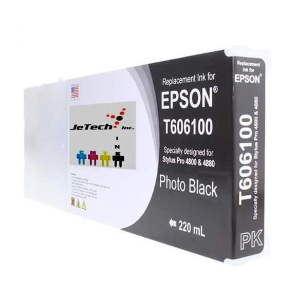 Epson T606100 Compatible Photo Black 220ml Ink Cartridges