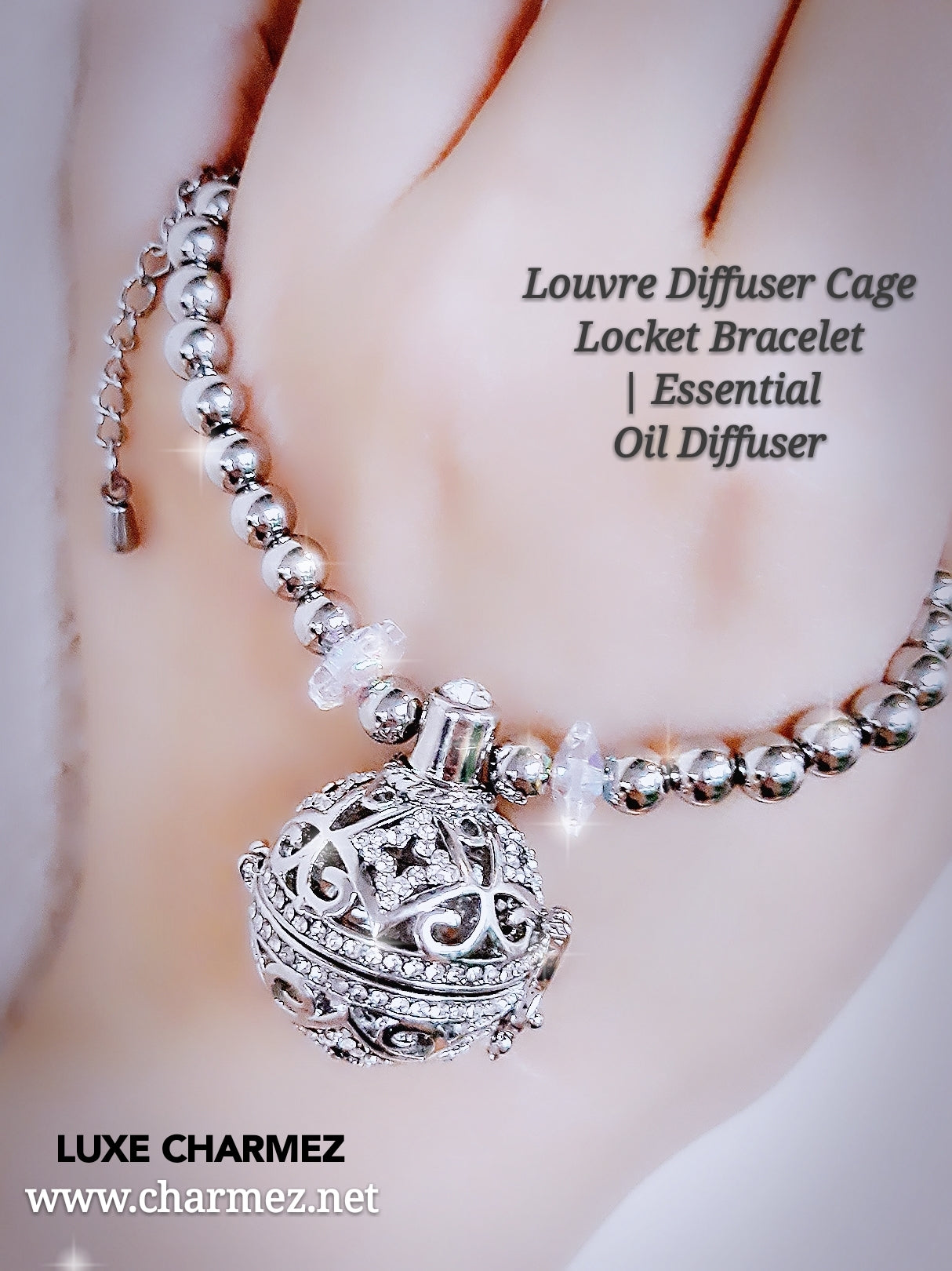 charcoal junkie locket medium with crystals bracelet product