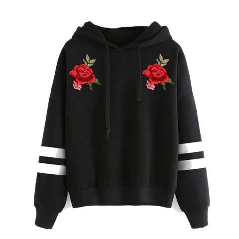 Sweatshirt mit Rosen-Stickerei