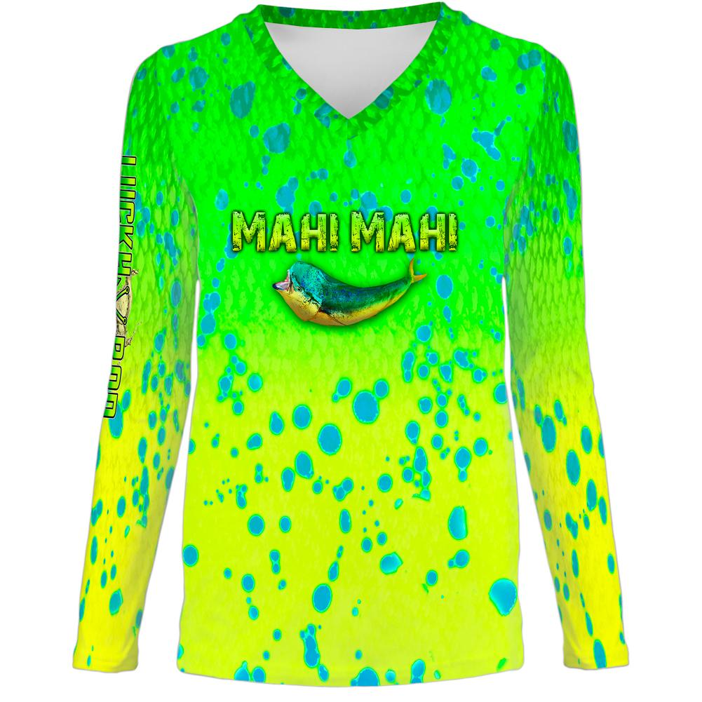 Mahi Attack Womens LS V-Neck Allover
