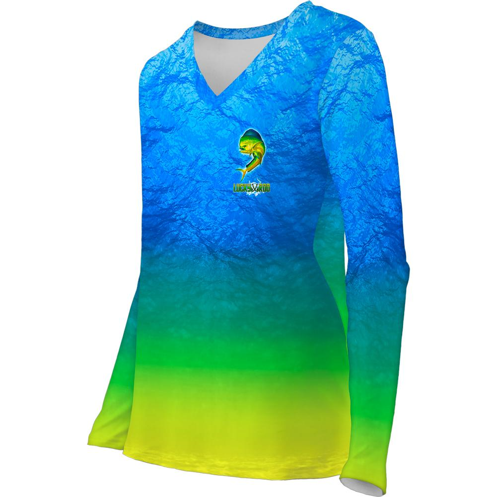 Mahi Nation Womens LS V-Neck Allover