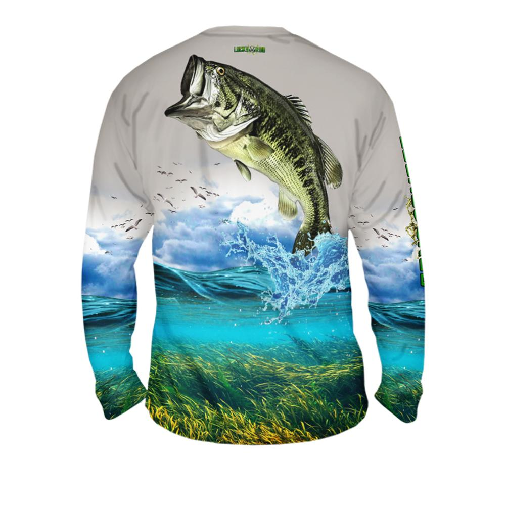Shallow Attack Bass Mens Performance Long Sleeve Allover
