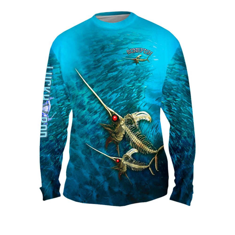 Bone Marlin Mens Performance Long Sleeve Allover
