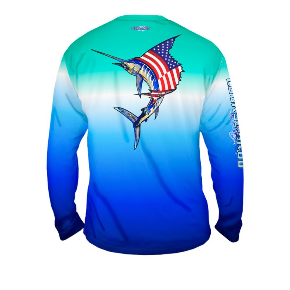 National Marlin Mens Performance Long Sleeve Allover