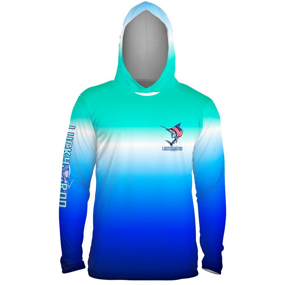 National Marlin Mens Performance LS With Hood Allover