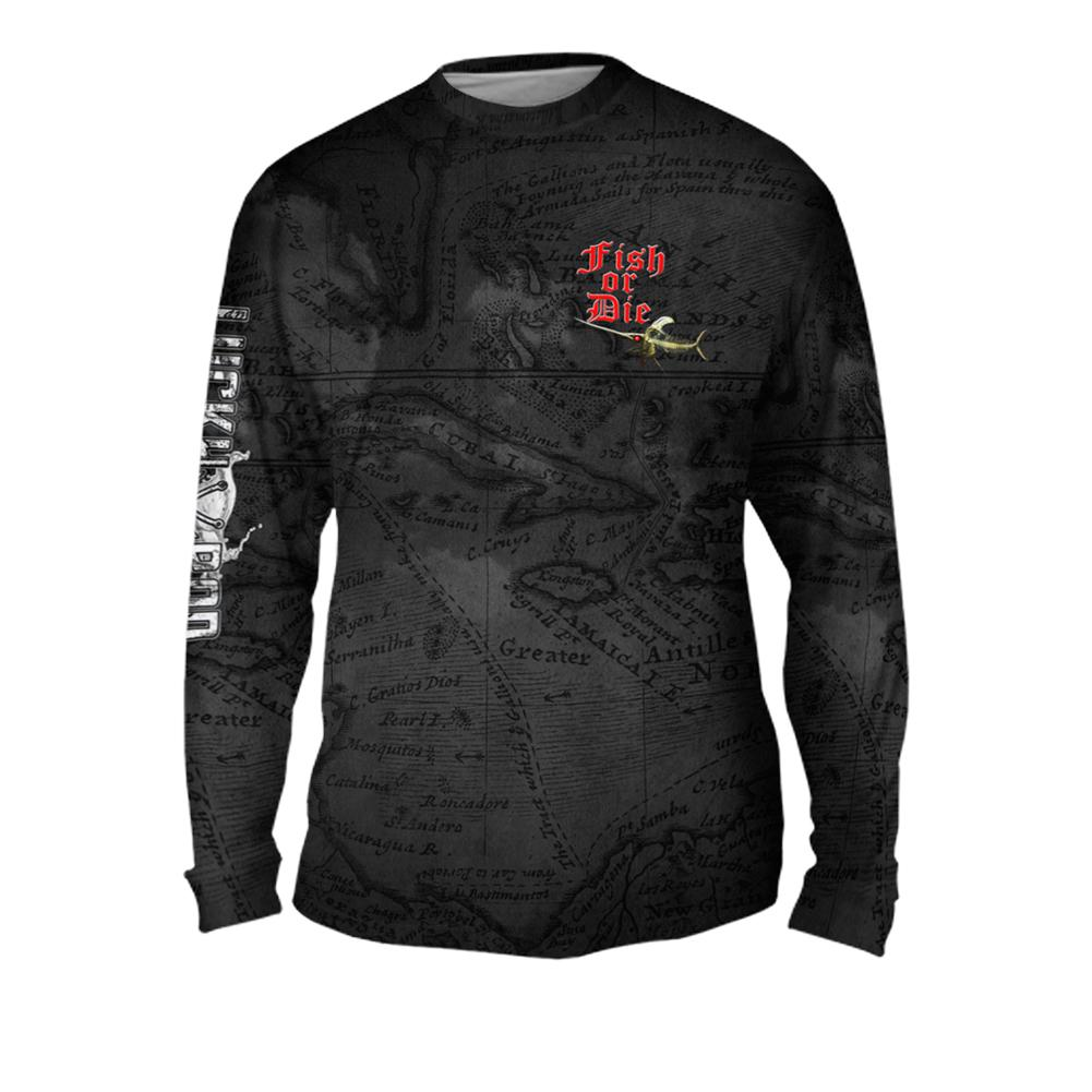 Fish or Die Mens Performance Long Sleeve Allover