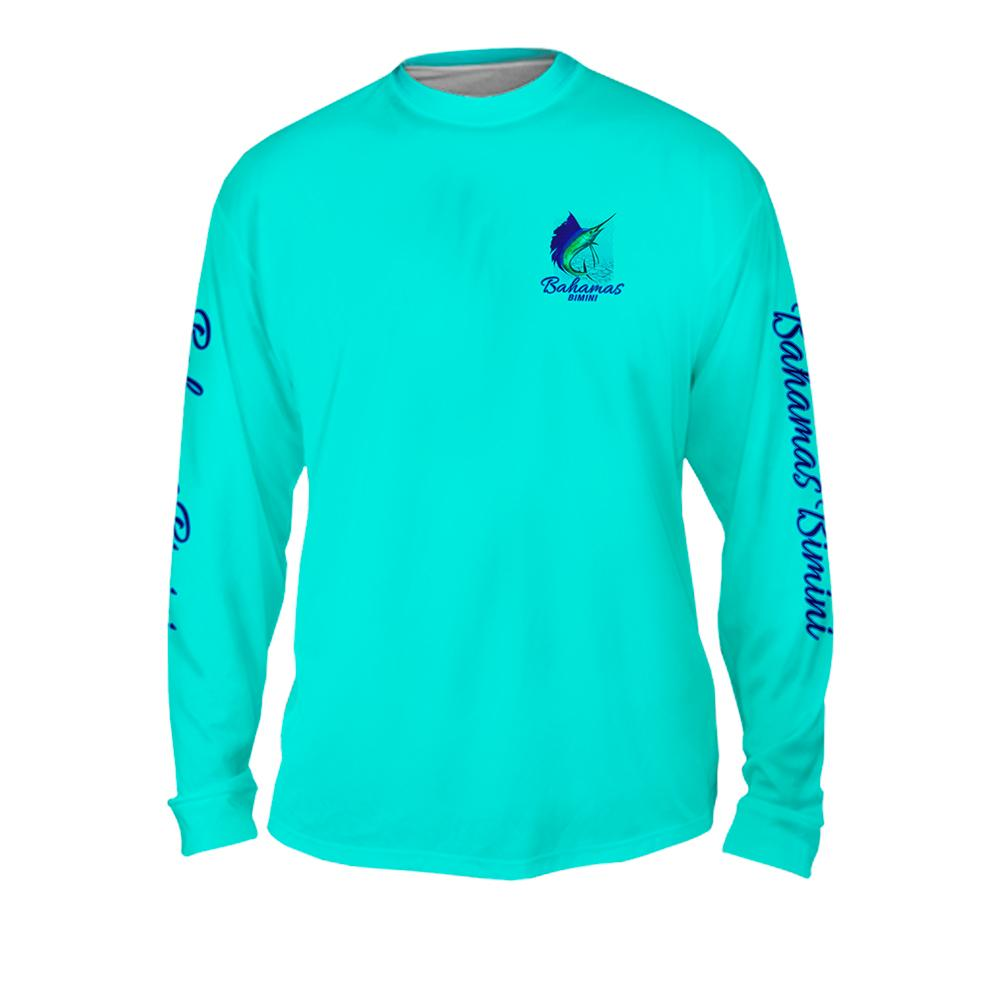 Sailfish Spin Turquise Blue - Free Stock Art - Mens Performance Long Sleeve Spot Print