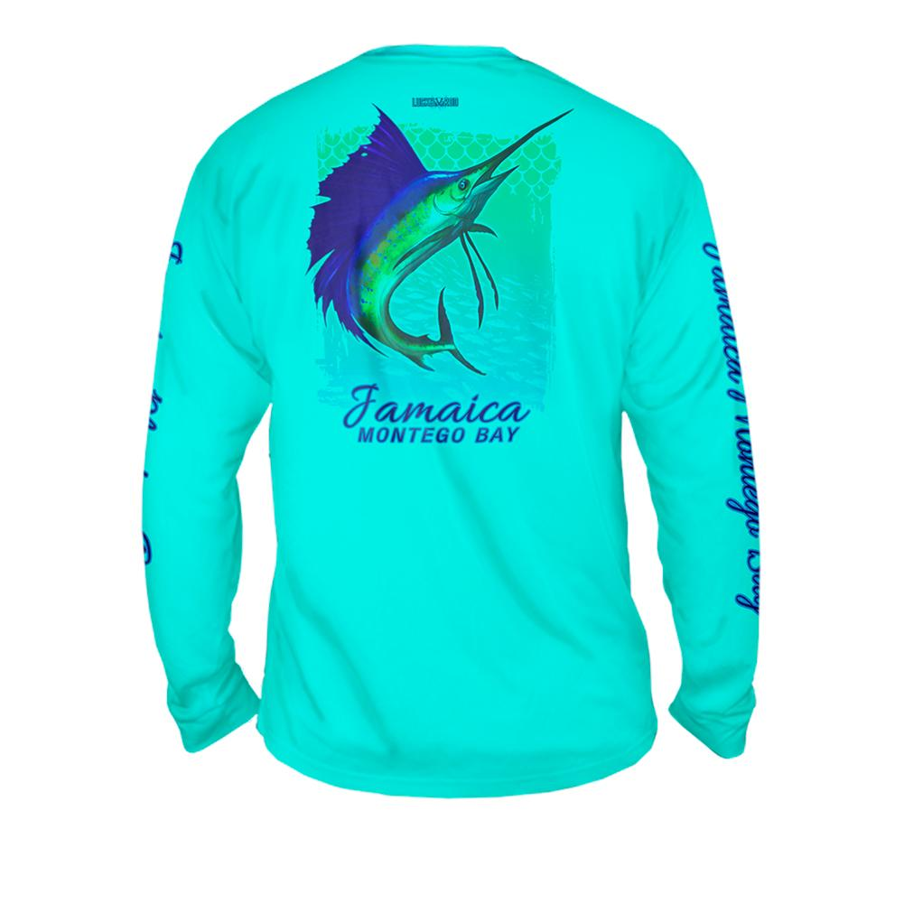 Sailfish Spin Yellow Turquise - Free Stock Art - Mens Performance Long Sleeve Spot Print