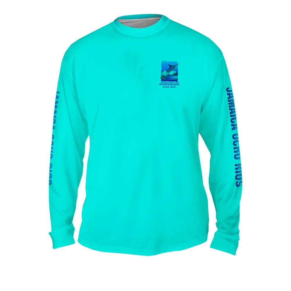 Marlin Reef - Free Stock Art - Mens Performance Long Sleeve Spot Print