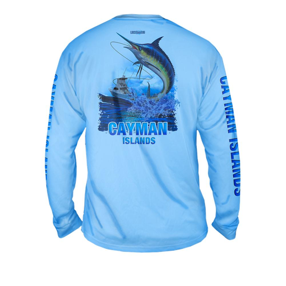 Lucky Day Marlin - Free Stock Art - Mens Performance Long Sleeve Spot Print