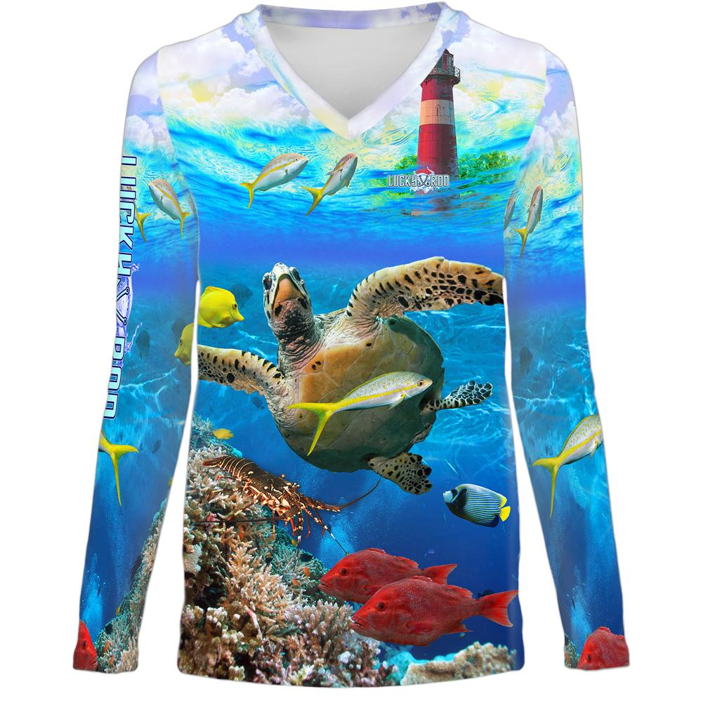 Turtle Lighthouse Womens LS V-Neck Allover