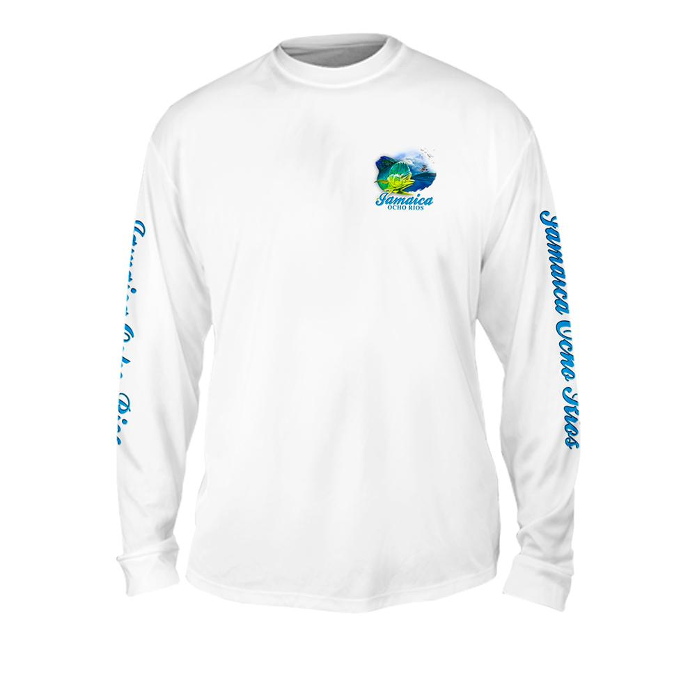 Dorado Wave - Free Stock Art - Mens Performance Long Sleeve Spot Print